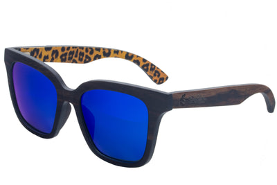 Cheetah Print Walnut Wood Sunglasses with Blue Polarized Lenses