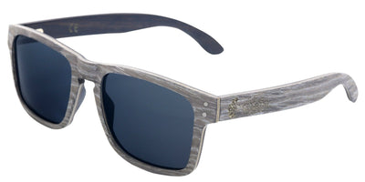 Silver & Black Oak Wood Frame Sunglasses