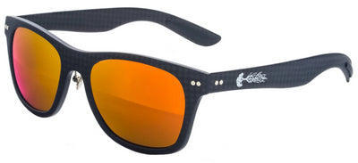 Solid Carbon Fiber Sunglasses with Red/Orange Lenses