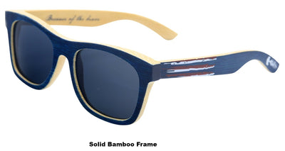 Laminated Bamboo Patriot Shades with Polarized Lenses