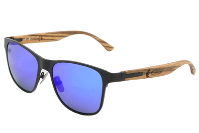 Titanium & Zebra Wood Sunglasses with Polarized Blue Lenses