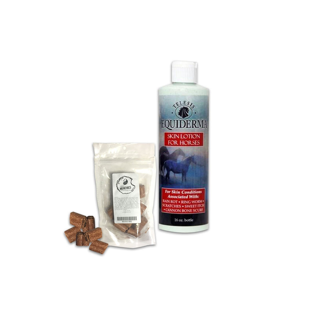Best Rain Rot Treatment For Horses - Equiderma Skin Lotion Ring Worm, Scratch Treatment Plus Mikes Instinct Apple Flavored Irresistabe Horse Treats - Exclusive Bundle