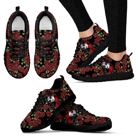 Red Roses & Calavera Girl Handcrafted Sneakers.