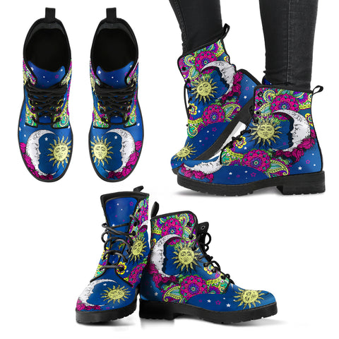 Sun And Moon Henna Handcrafted Boots