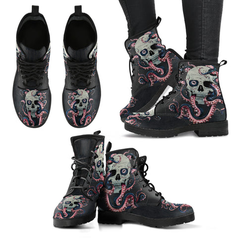 Skull And Octopus Boots
