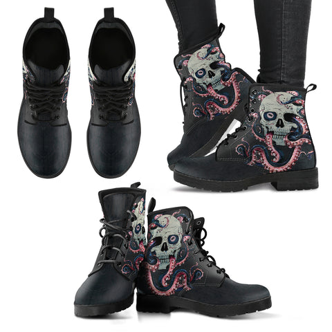 Skull & Octopus Tentacles Handcrafted Boots