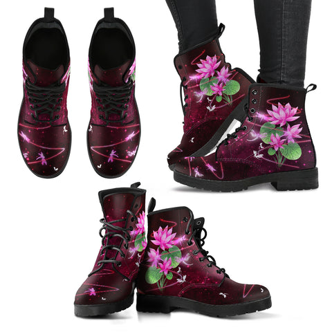 Dragonfly With Lotus Flower Handcrafted Boots V3