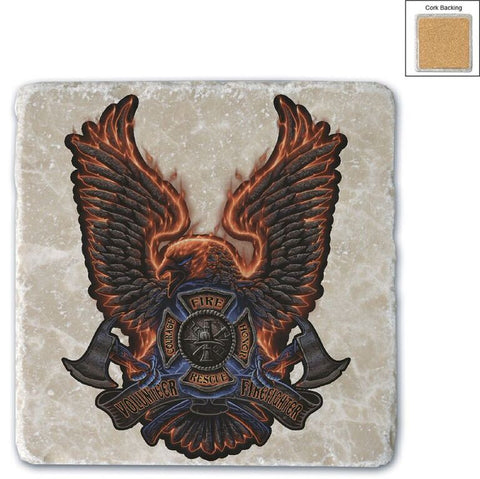 Firefighter Natural Stone Coasters - Volunteer Eagle