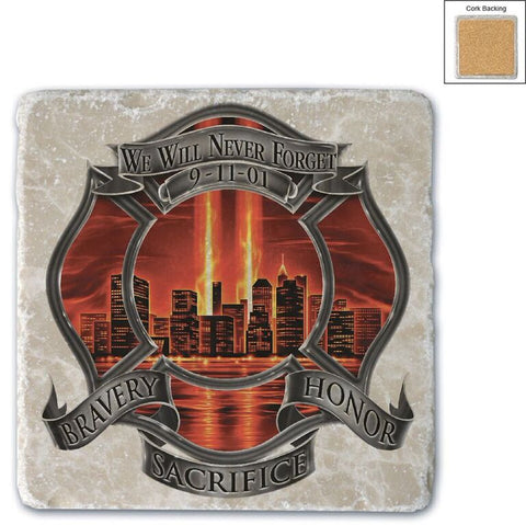 Firefighter Natural Stone Coasters - Never Forget