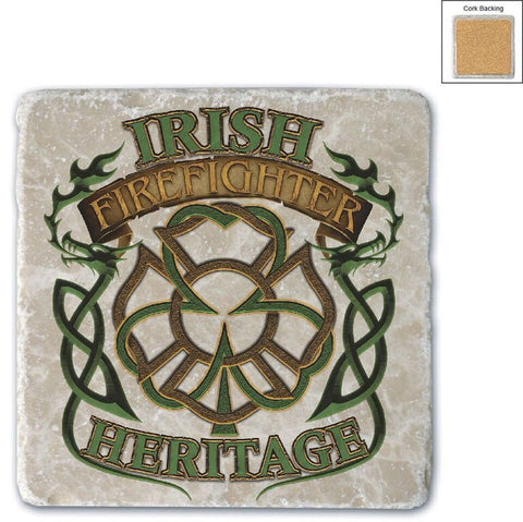 Firefighter Natural Stone Coasters - Heritage