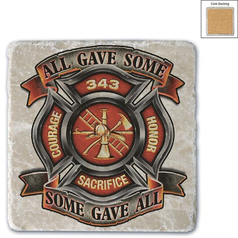 Firefighter Natural Stone Coaster - All Gave Some
