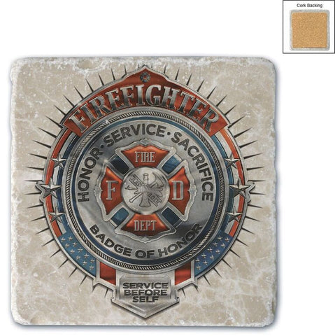 Firefighter Natural Stone Coaster - Service and Sacrafice