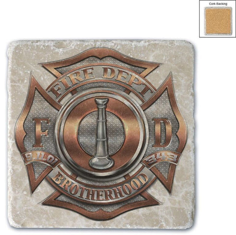 Firefighter Natural Stone Coaster - Brotherhood