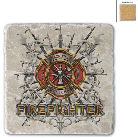 Firefighter Natural Stone Coaster - Pikes