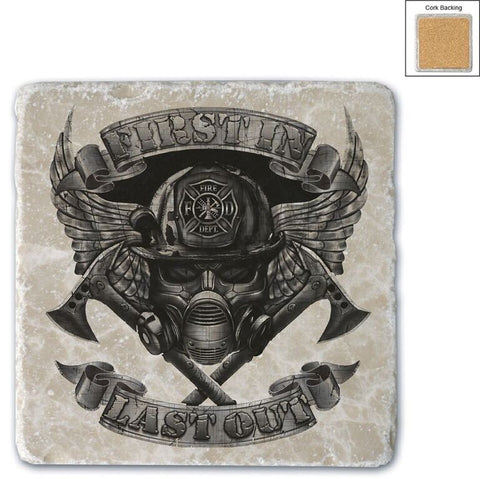 Firefighter Natural Stone Coasters - First In Last Out