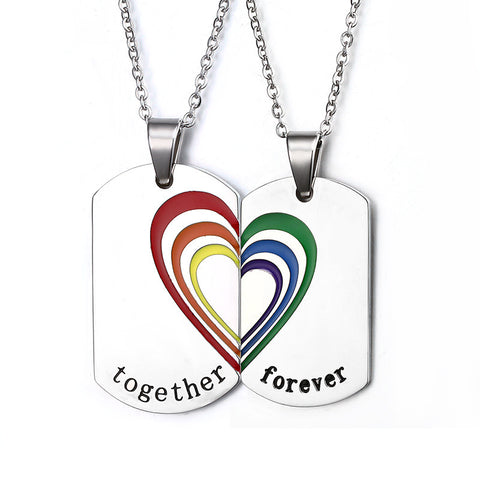 """Together Forever"" Stainless Steel Rainbow Necklaces & Pendants"