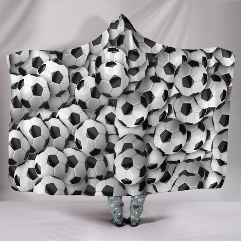 Soccer Balls Hooded Blanket
