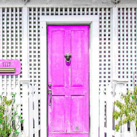 Pink Door White Lattice