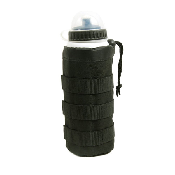 Tactical MOLLE Water Bottle Pouch, Drawstring Open Top & Mesh Bottom Travel Water Bottle Bag