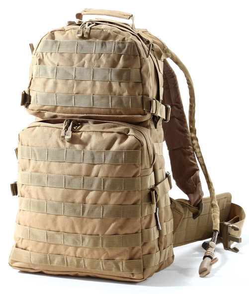Large US Military Army Style Backpack With Wide Molle Hip Belt by Monkey Paks™ with 2.5L Water Bladder System