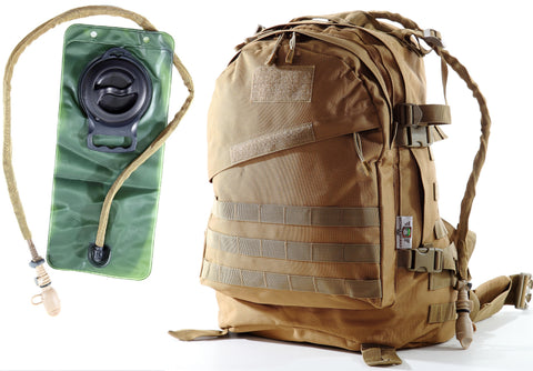 Medium Military Tactical Backpack With 2.5L Hydration Water Bladder By Monkey Paks