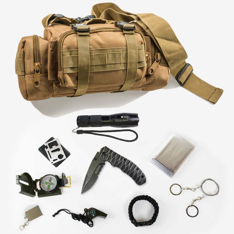Survival Pack with 9 essential tools included.