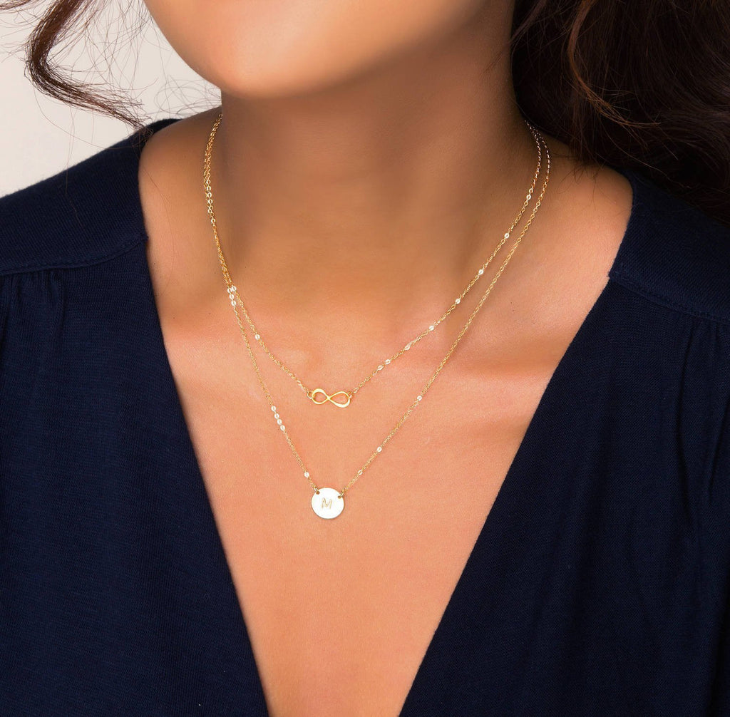 Gold Filled Double Layer Mini Infinity and Disc Necklace