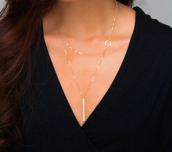 Circle Hammered Ring Layering Necklace