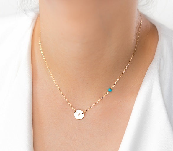 Initial Disc Necklace and Gemstone Necklace