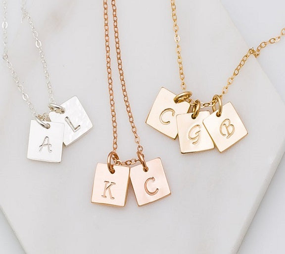 Tiny Square Initial Necklace
