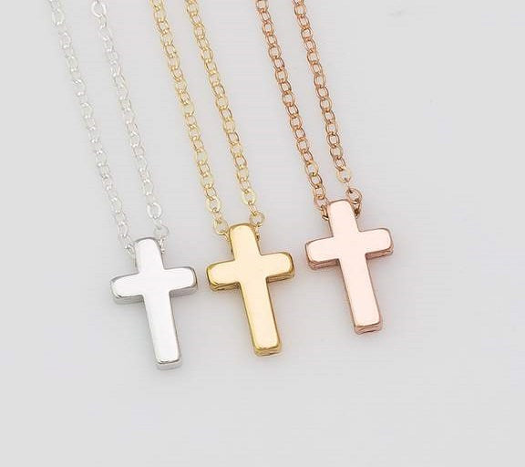 Minimal Tiny Sliding Cross Necklace