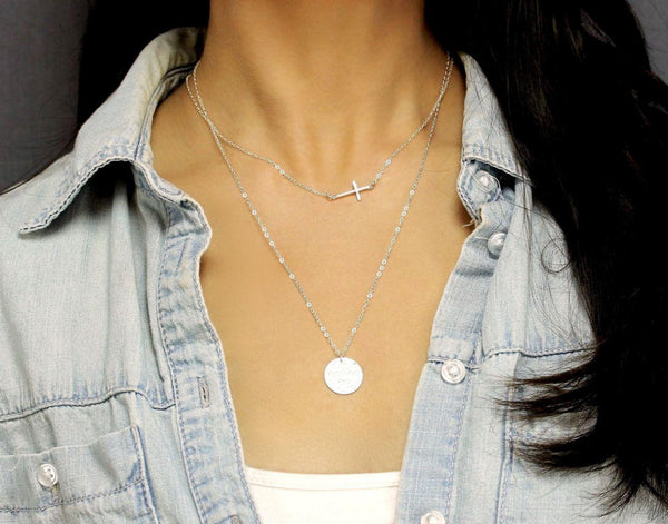 Narrow Cross Layered Necklace