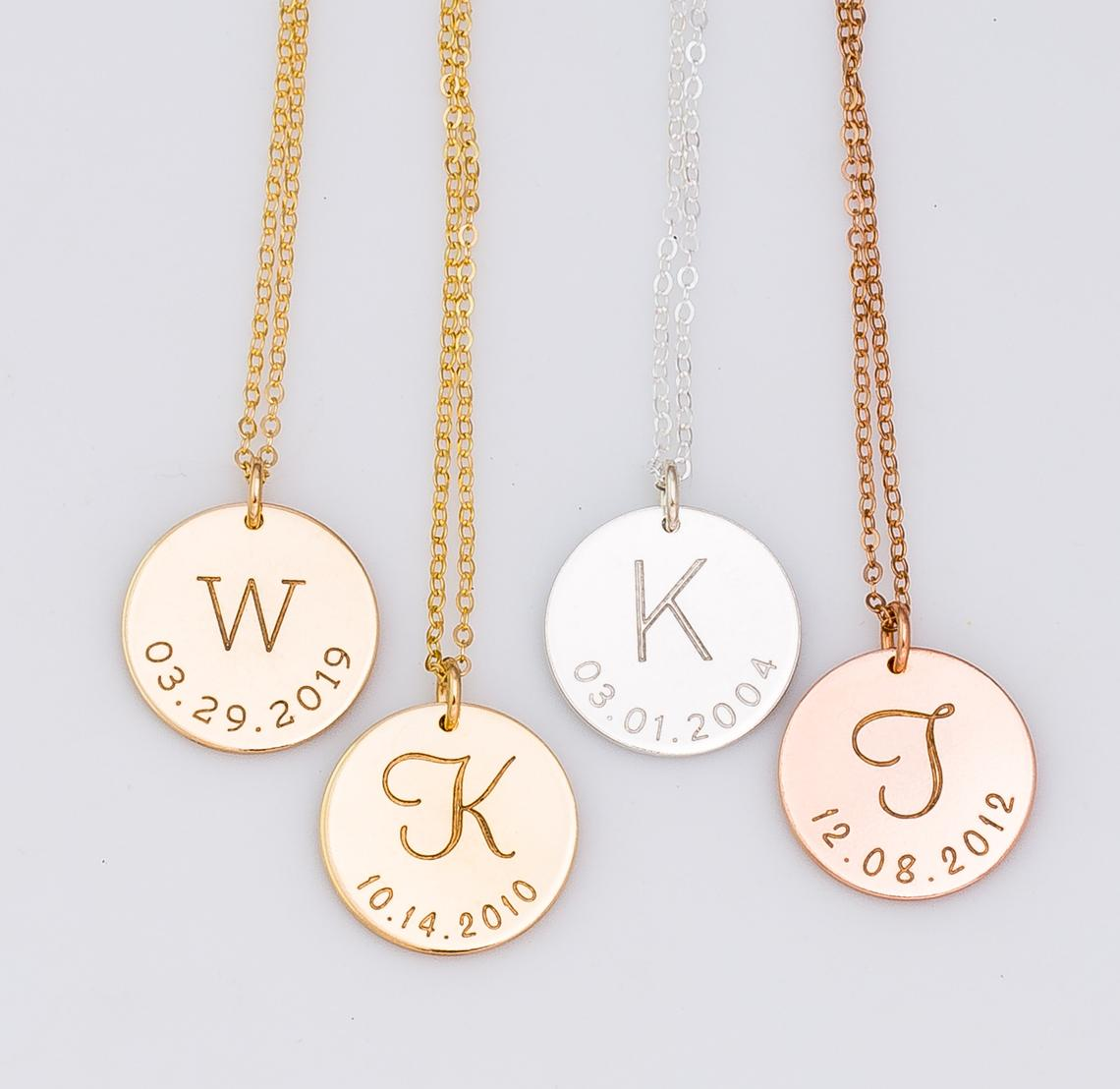 Initial and Date Necklace