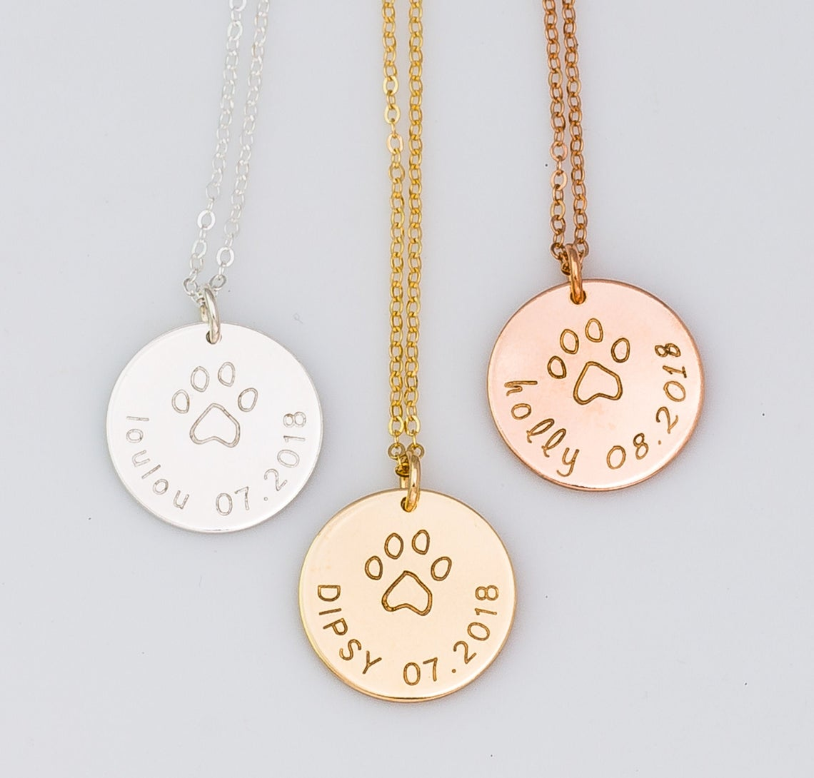 Name and Date Dog Paw Necklace