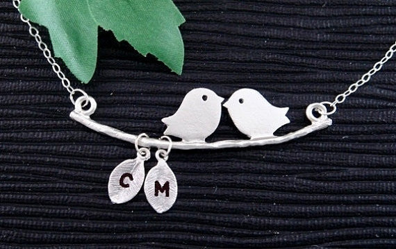 Silver Kissing Bird Necklace