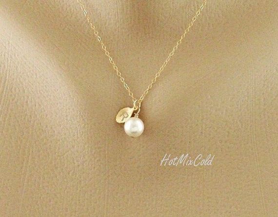 Gold Initial Pearl Necklace
