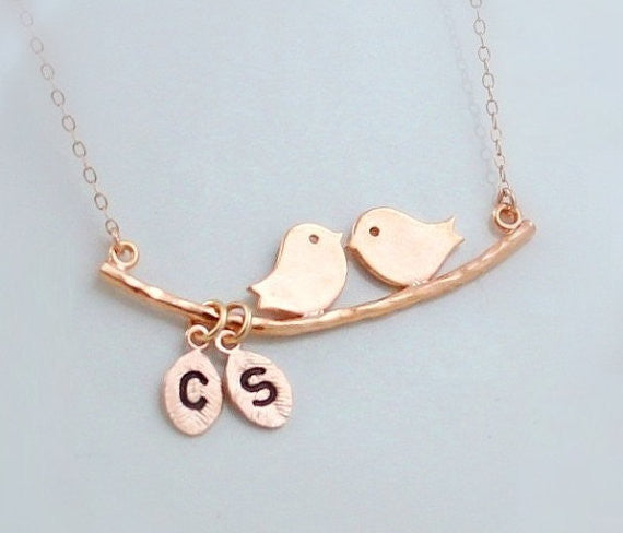 Rose Gold Kissing Love Bird Necklace