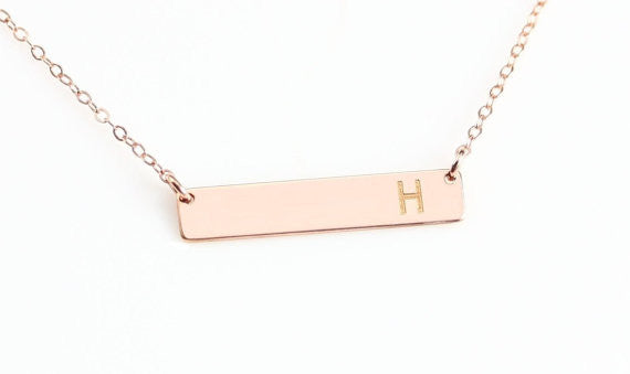 Rose Gold Bar Necklace. Personalized bar necklace at HotMixCold
