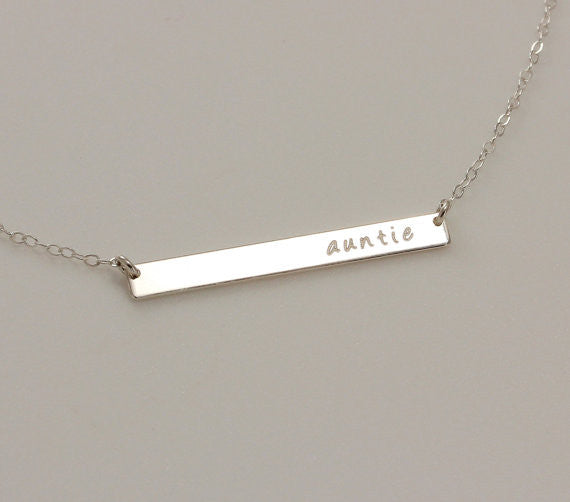 Long Skinny Silver Bar Necklace