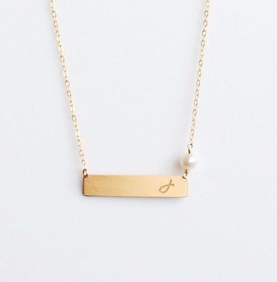 Gold Bar Birthstone Necklace