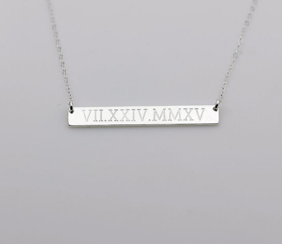 Silver Roman Bar Necklace