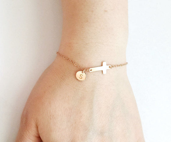 Rose Gold Cross Charm Bracelet