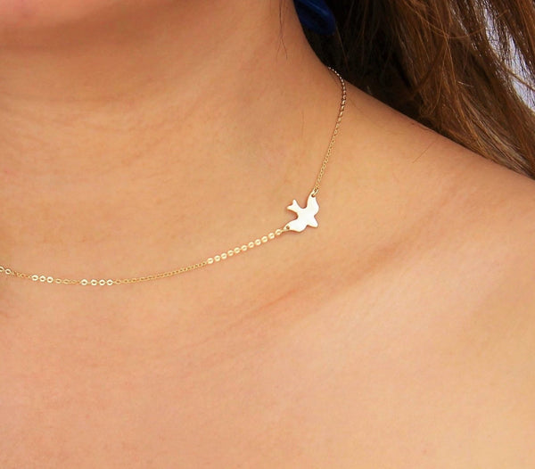 Flying Dove Bird Charm Necklace