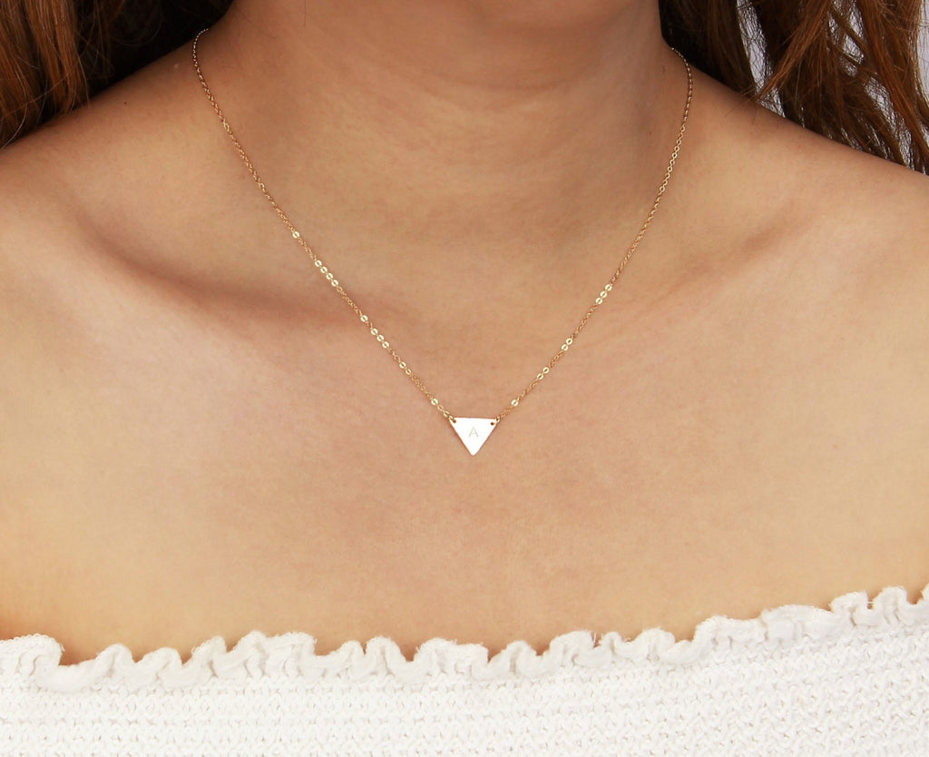 Personalized Small Triangle Necklace