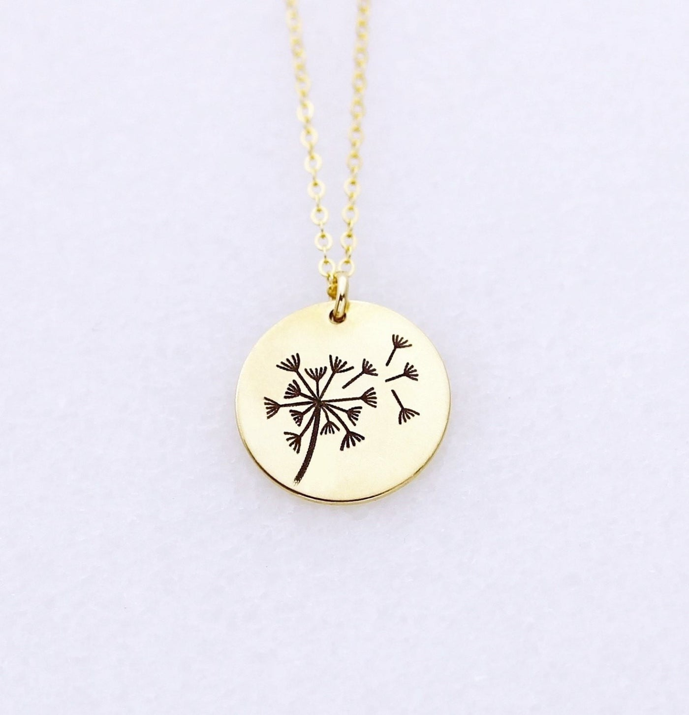 Gold Dandelion Pendant Necklace