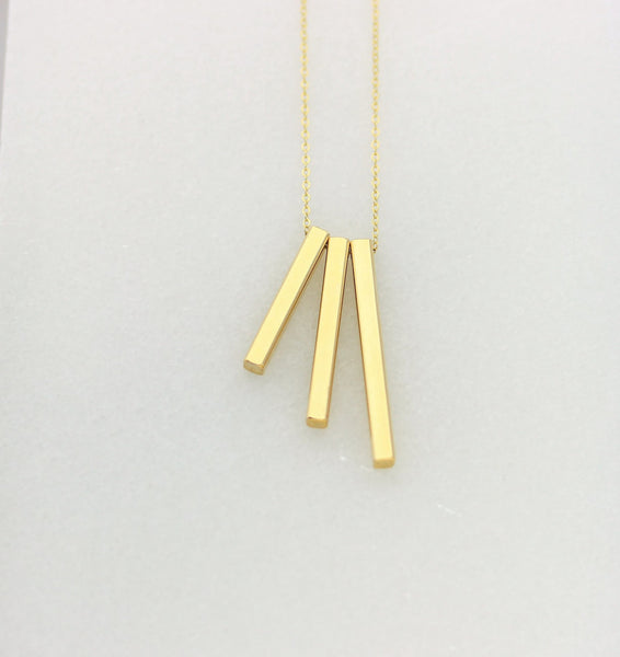 4 Sided Gold Bar Necklace Set