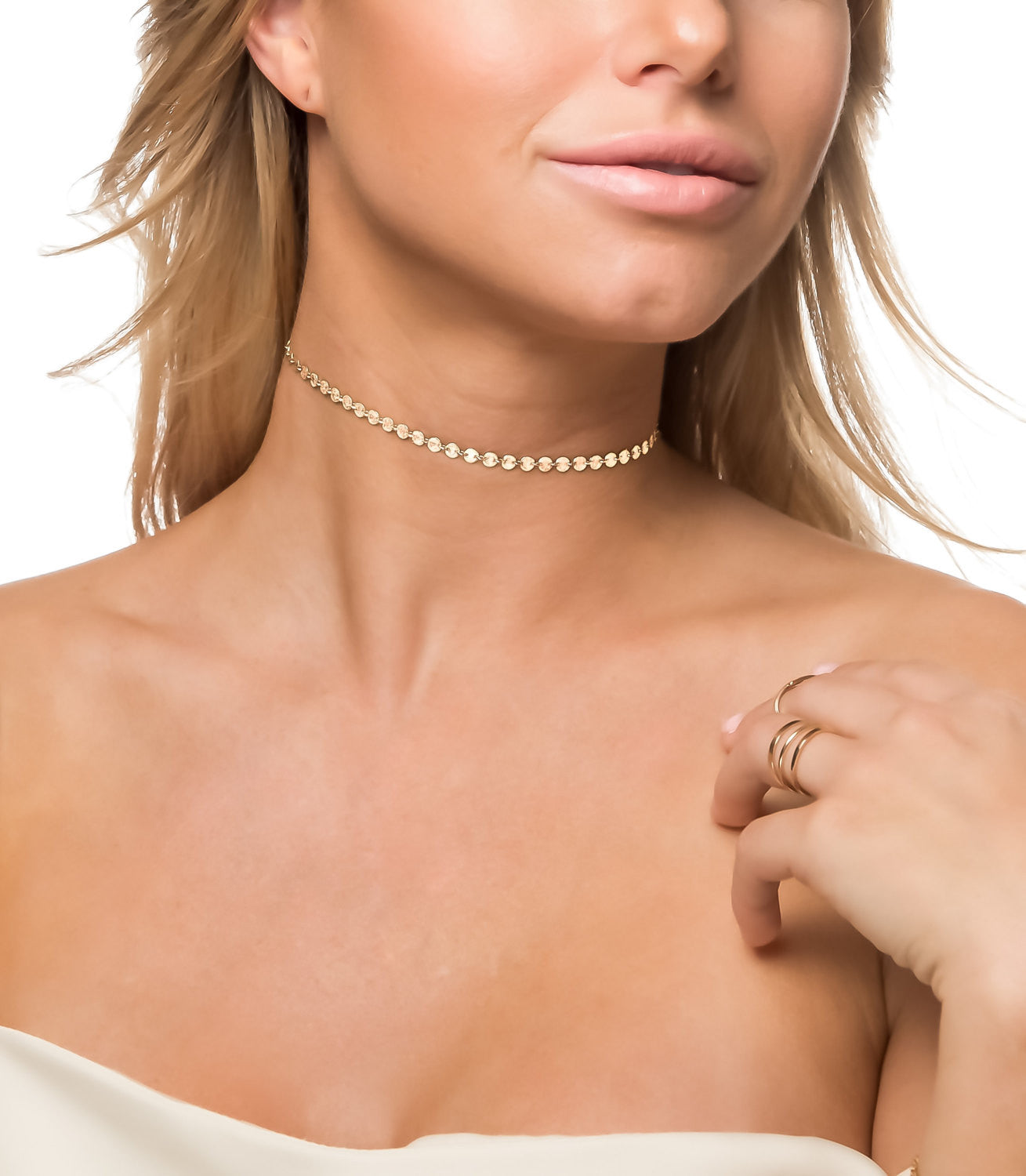 Gold Coin Tattoo Choker Necklace