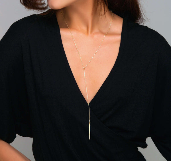 Skinny Bar Drop Lariat Necklace