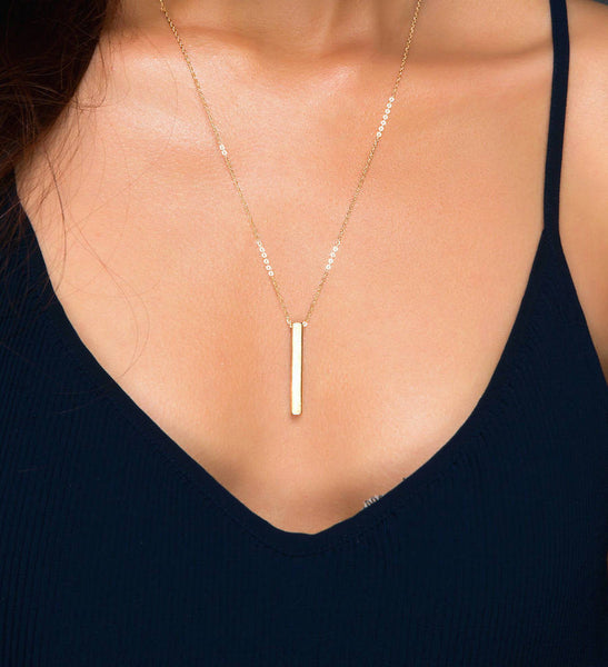 4 Sided Gold Bar Necklace