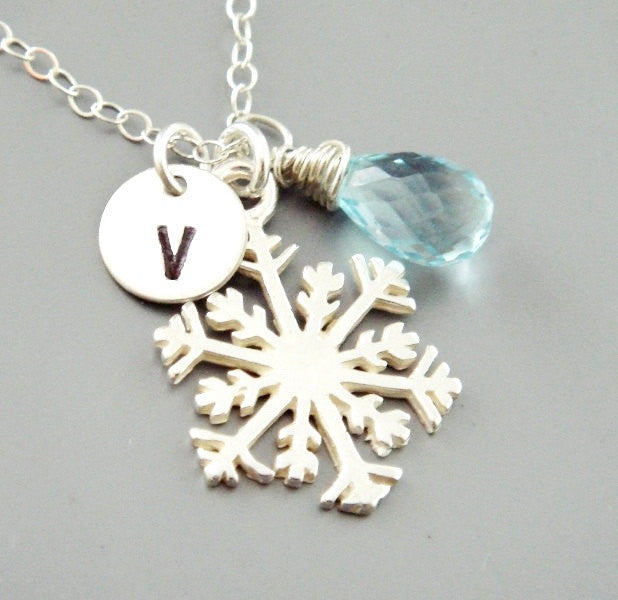 Custom Initial Snowflake Charm  Bracelet Personalized Jewelry in Sterling Silver